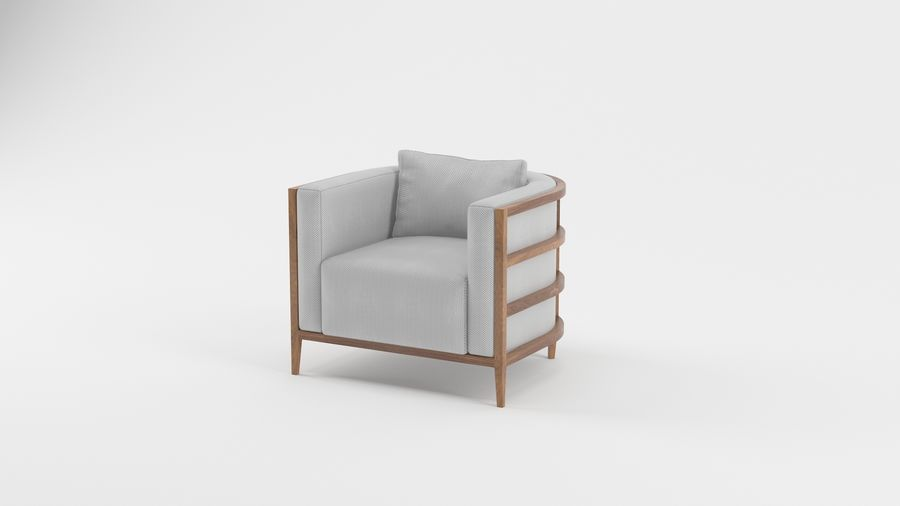 Armchair1 royalty-free 3d model - Preview no. 3