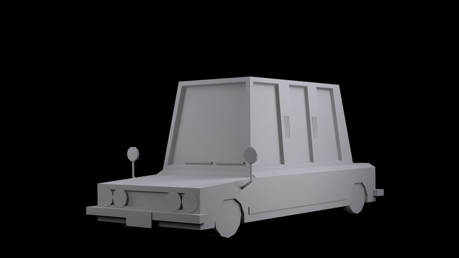 Limousine - (Voitures Low Poly Cartoon) royalty-free 3d model - Preview no. 4