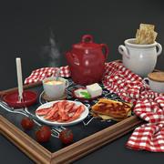 아침 식사 세트 3d model