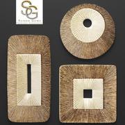 Concave Ribbed Plaque Wall Art - Set 3d model