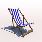 Deck Chair - Blue 3d model