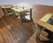 Wooden table with glass top lowpoly 3d model