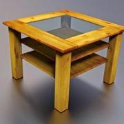Tavolo in legno con piano in vetro lowpoly 3d model