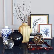 Set de décoration chatte-saule 3d model