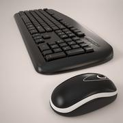 computer keyboard and mouse 3d model