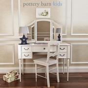 Pottery Barn,Blythe Desk And Mirror Vanity Hutch 3d model