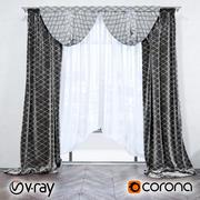 Gordijnen met patroon (vray + corona) 3d model