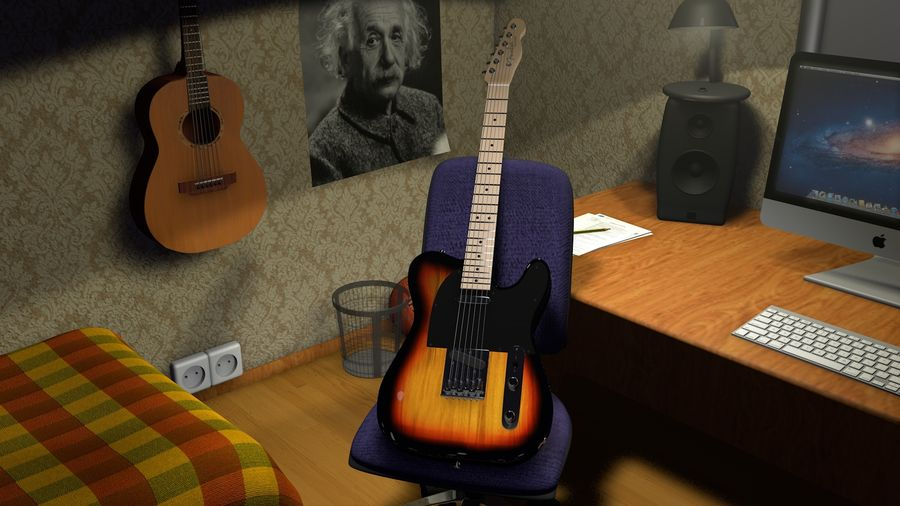 Fender Telecaster royalty-free 3d model - Preview no. 2