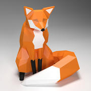 fox low poly style 3d model