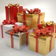 Geschenkboxen setzen Weihnachten 3d model
