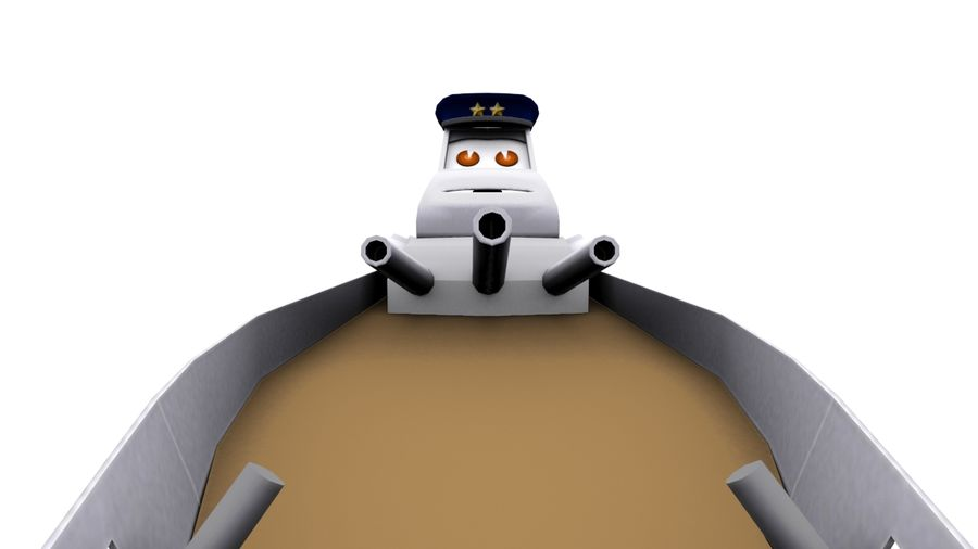 okręt wojenny z kreskówki royalty-free 3d model - Preview no. 2