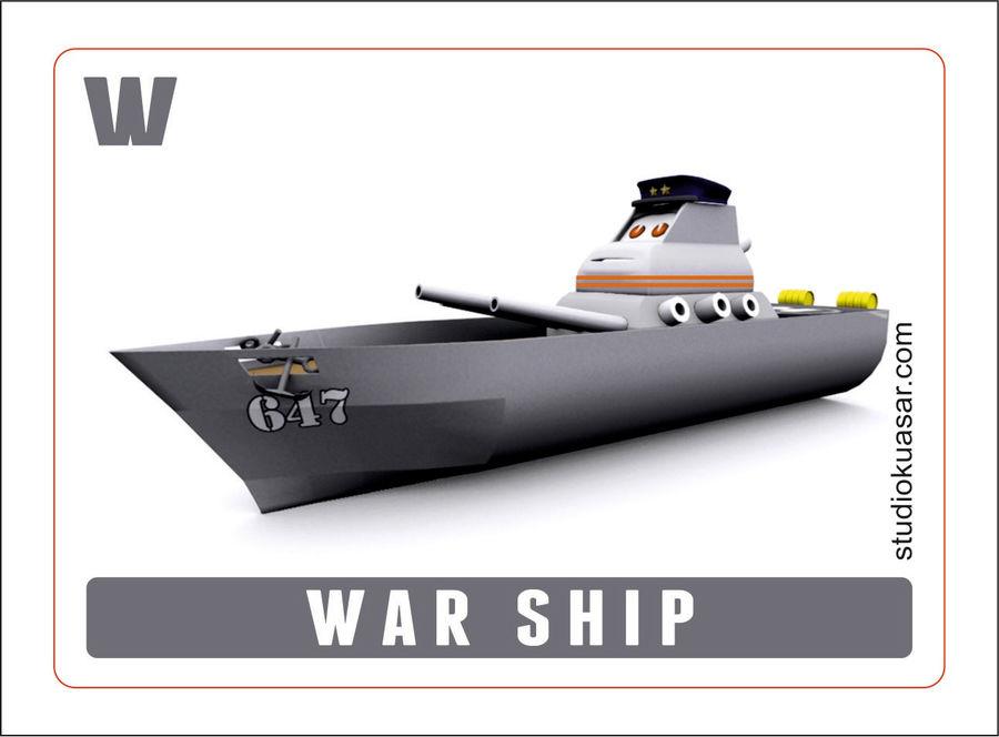 okręt wojenny z kreskówki royalty-free 3d model - Preview no. 3