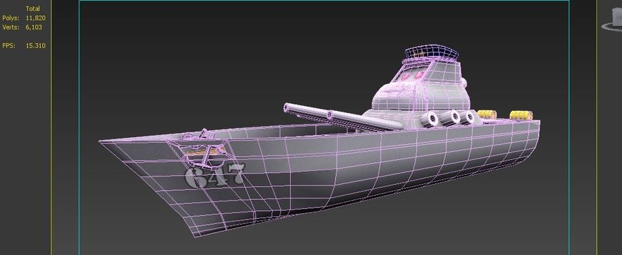 okręt wojenny z kreskówki royalty-free 3d model - Preview no. 4