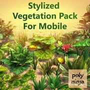 Pacote estilizado de vegetação para celular 3d model