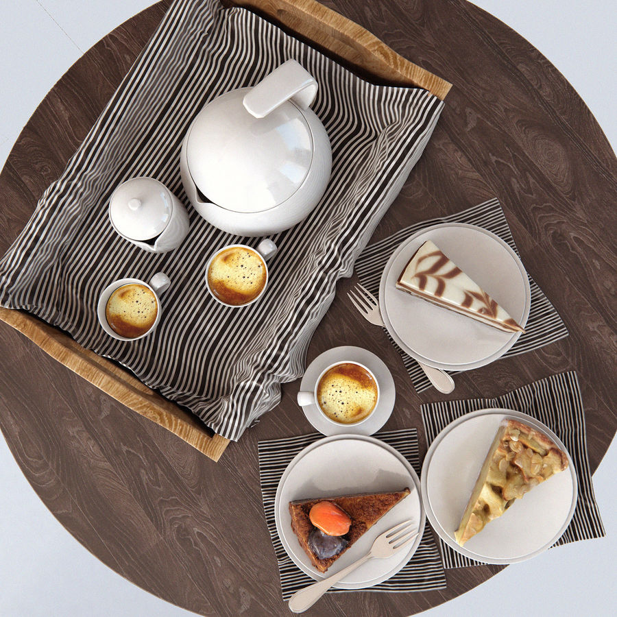 Set of cakes royalty-free 3d model - Preview no. 2
