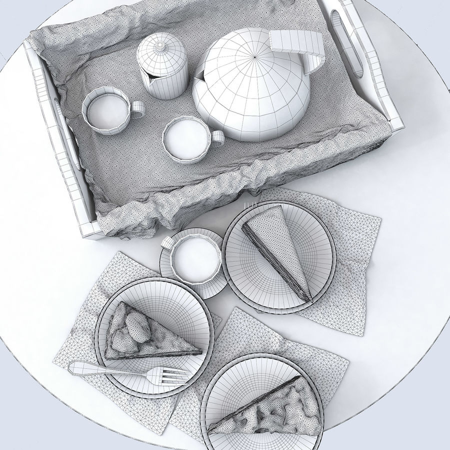 Set of cakes royalty-free 3d model - Preview no. 4