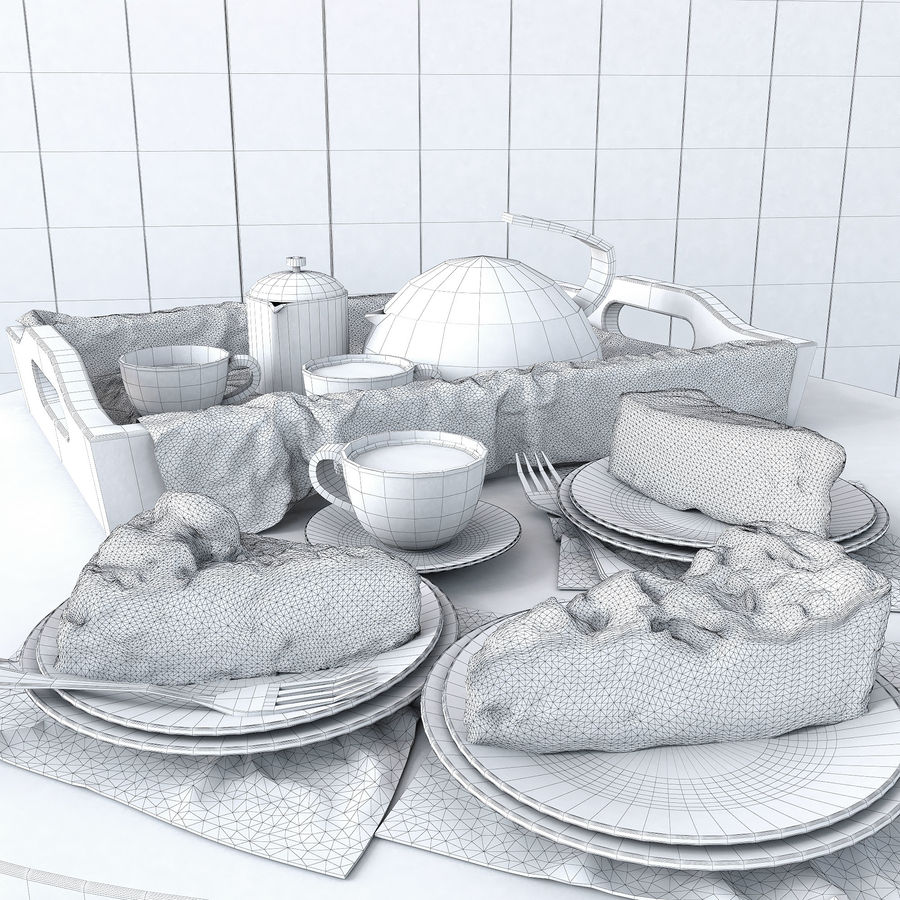 Set of cakes royalty-free 3d model - Preview no. 3