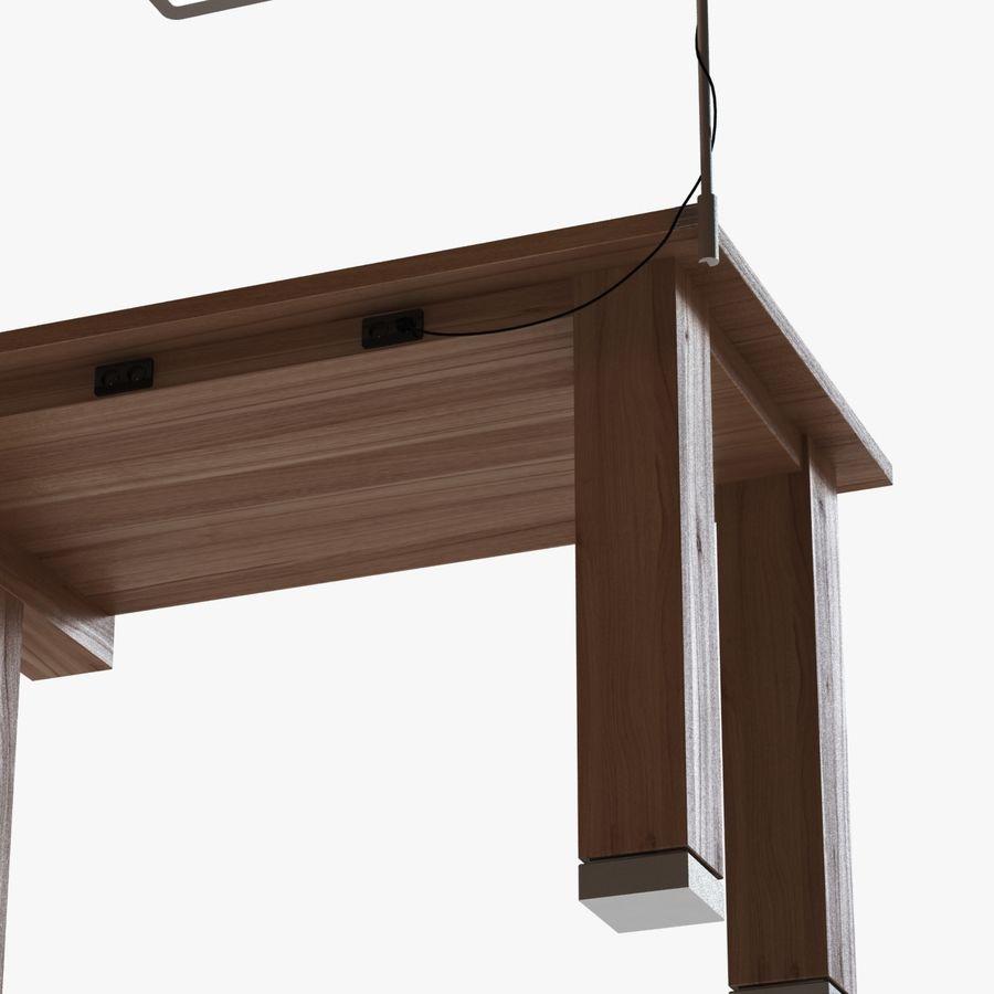 Современный деревянный стол с лампой royalty-free 3d model - Preview no. 4