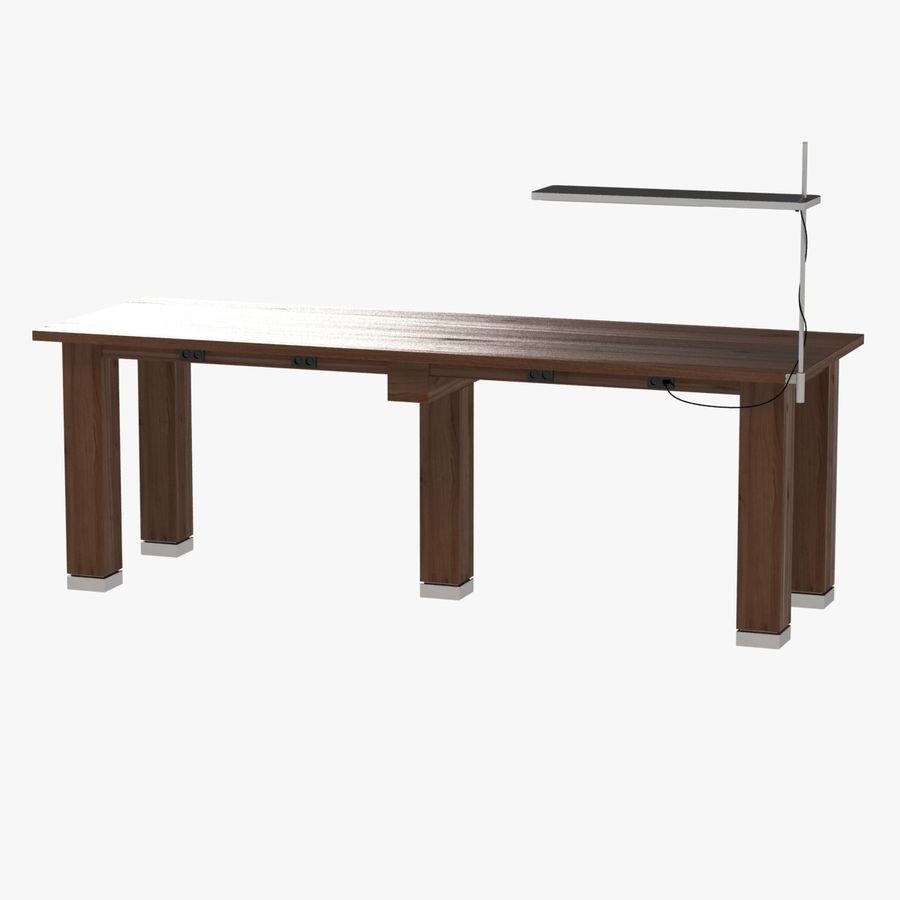 Современный деревянный стол с лампой royalty-free 3d model - Preview no. 1