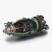 터보프롭 항공기 엔진 캐나다 PT6 단면 3d model