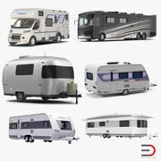 Collection de camping-cars et caravanes 3d model