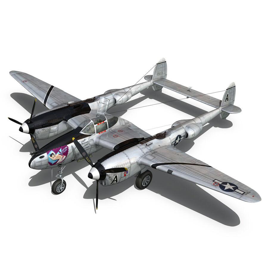 록히드 P-38 라이트닝-방랑자 버진 royalty-free 3d model - Preview no. 11