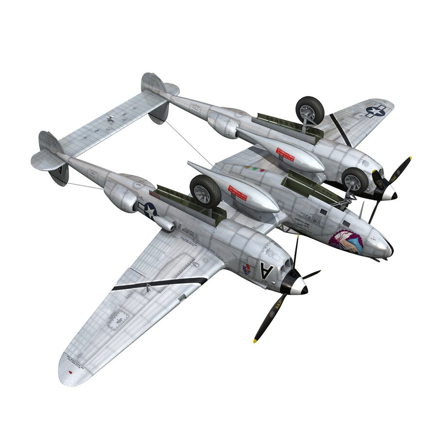 록히드 P-38 라이트닝-방랑자 버진 royalty-free 3d model - Preview no. 18