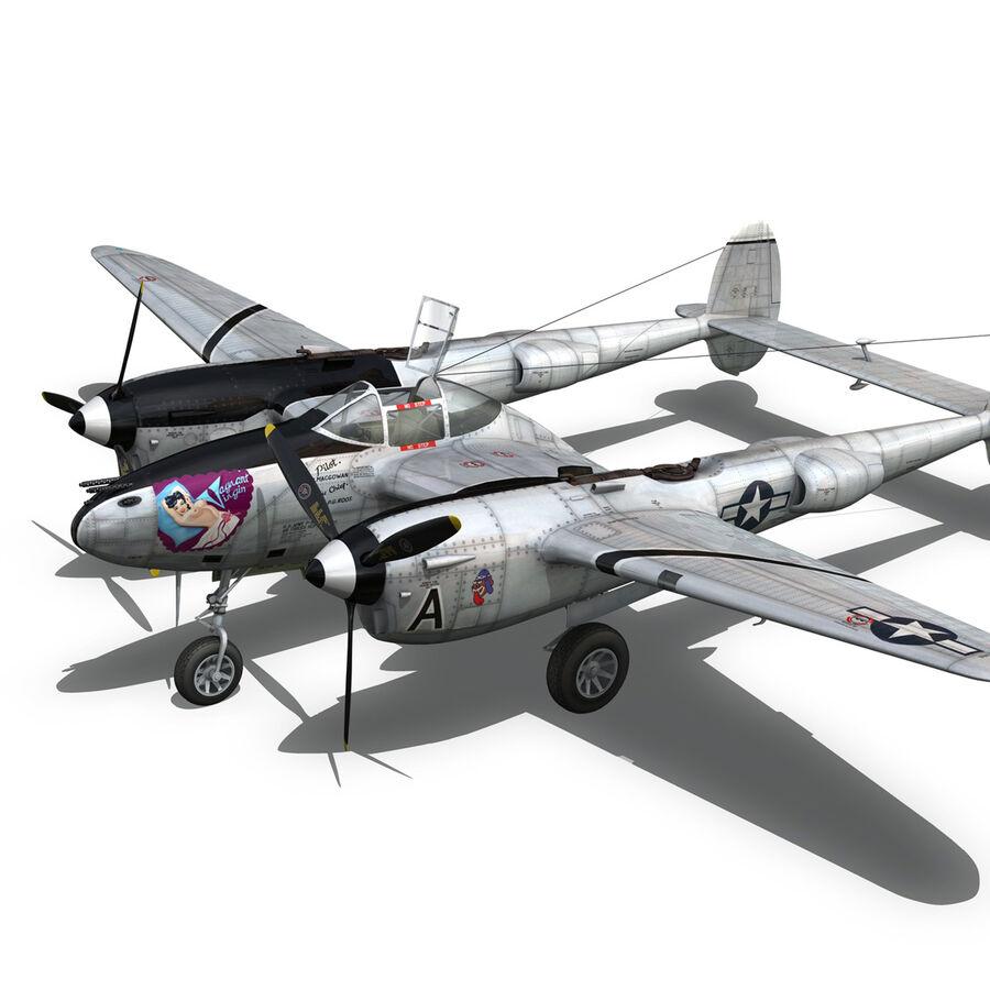 록히드 P-38 라이트닝-방랑자 버진 royalty-free 3d model - Preview no. 16