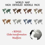 Paquete creativo de mapas del mundo modelo 3d