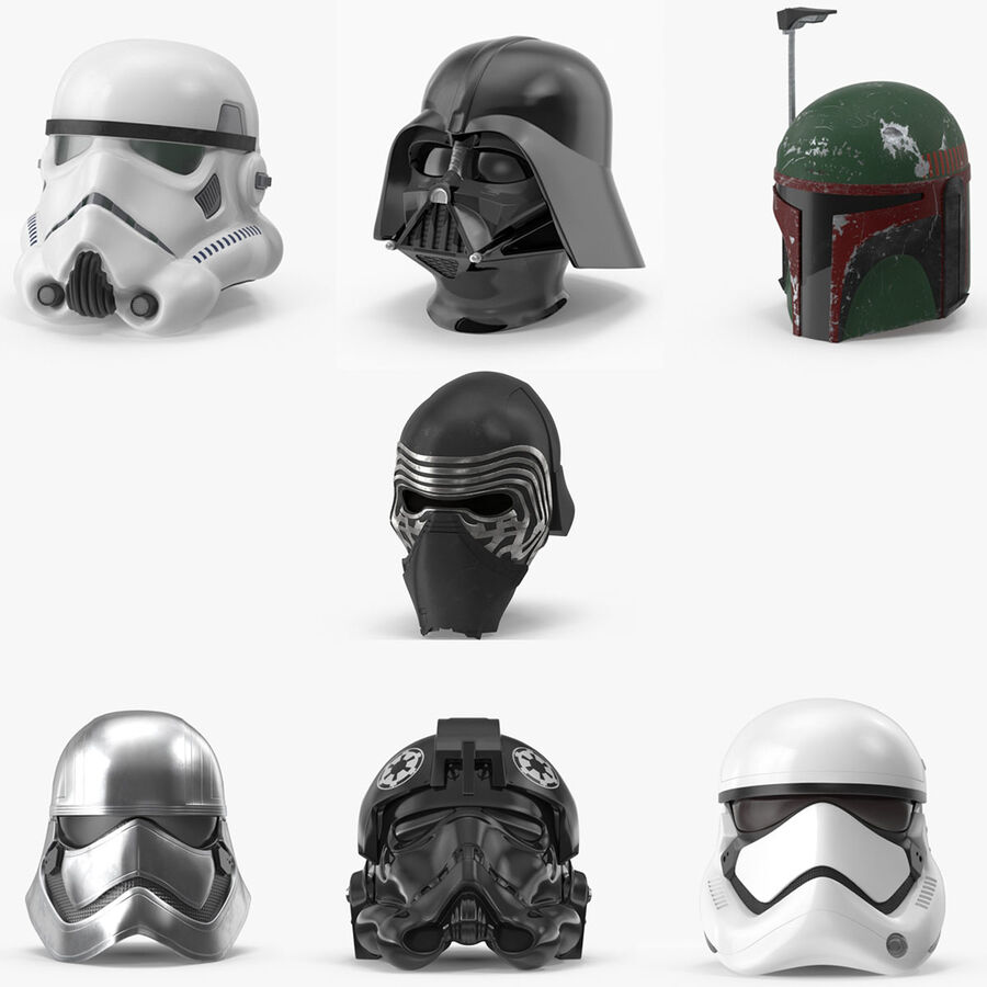Collection de casques Star Wars royalty-free 3d model - Preview no. 1