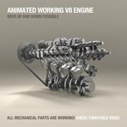 V8引擎工作动画 3d model