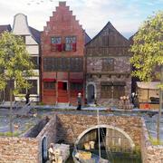 Holenderska średniowieczna ulica 3d model