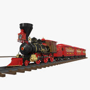 Animated Train Toy (opgetuigd) 3d model
