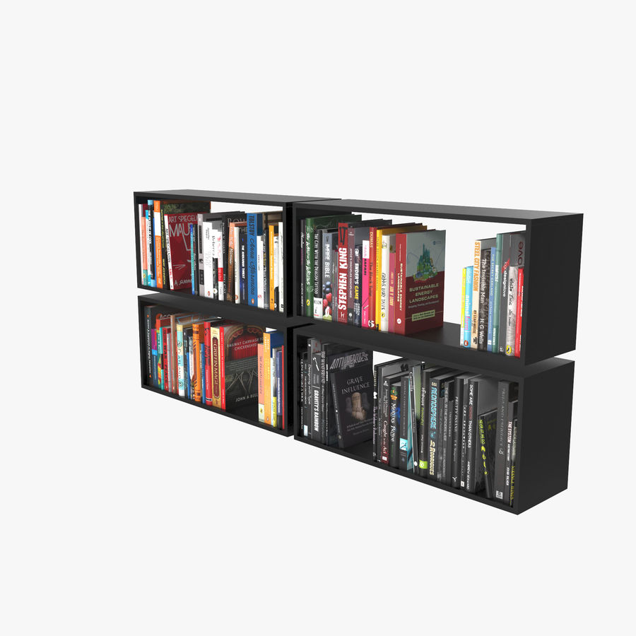 100 Modern Books royalty-free 3d model - Preview no. 2