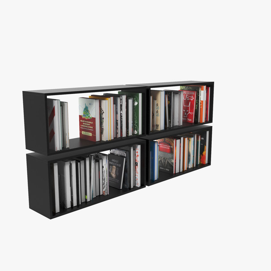 100 Modern Books royalty-free 3d model - Preview no. 3
