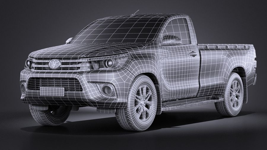 Toyota Hilux Regular Cab 2016 royalty-free 3d model - Preview no. 15