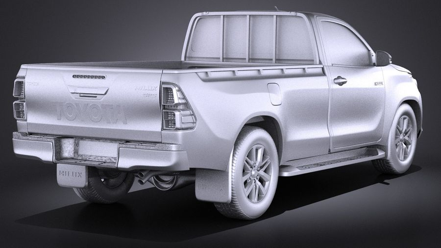 Toyota Hilux Regular Cab 2016 royalty-free 3d model - Preview no. 12