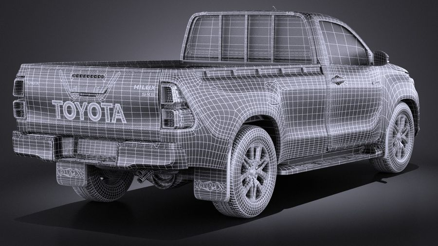 Toyota Hilux Regular Cab 2016 royalty-free 3d model - Preview no. 16