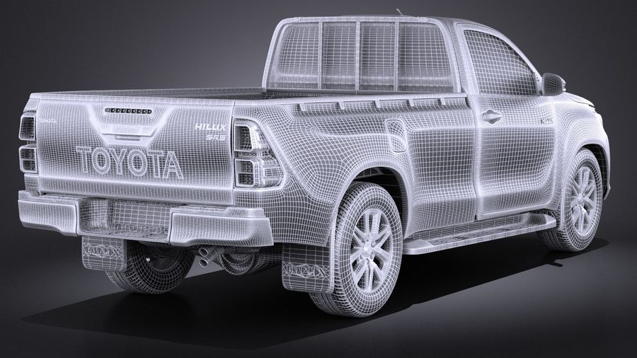 Toyota Hilux Regular Cab 2016 royalty-free 3d model - Preview no. 14