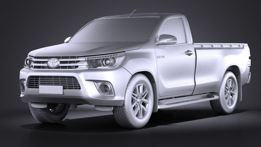 Toyota Hilux Regular Cab 2016 royalty-free 3d model - Preview no. 9