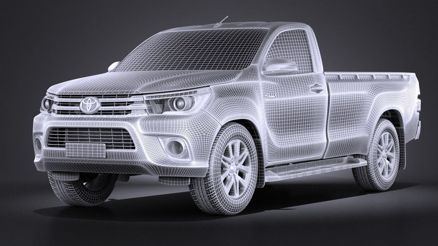 Toyota Hilux Regular Cab 2016 royalty-free 3d model - Preview no. 13
