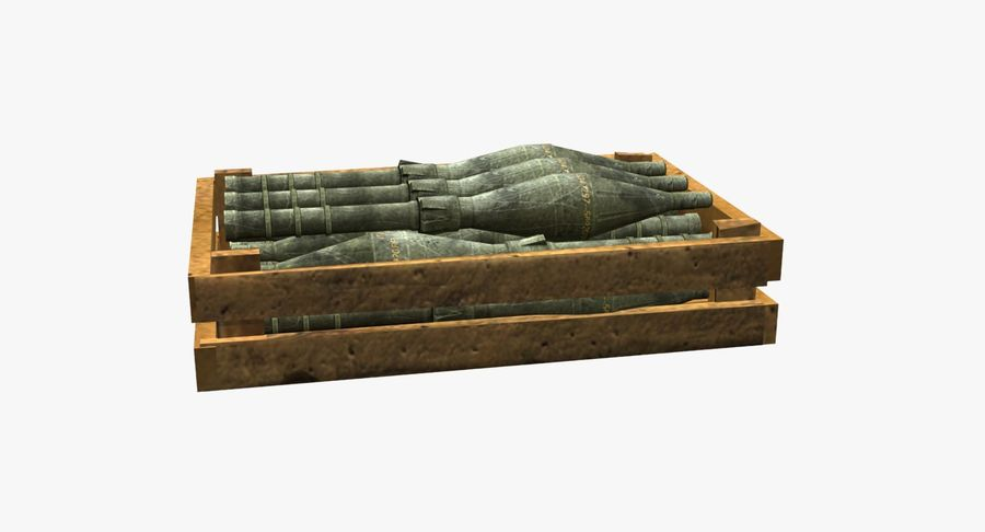 Scatola di legno con munizioni royalty-free 3d model - Preview no. 7