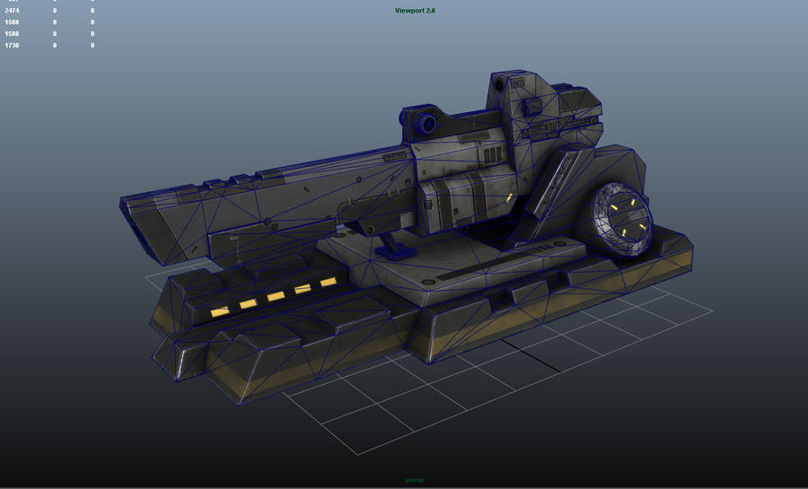 Sci-fi turret royalty-free 3d model - Preview no. 7
