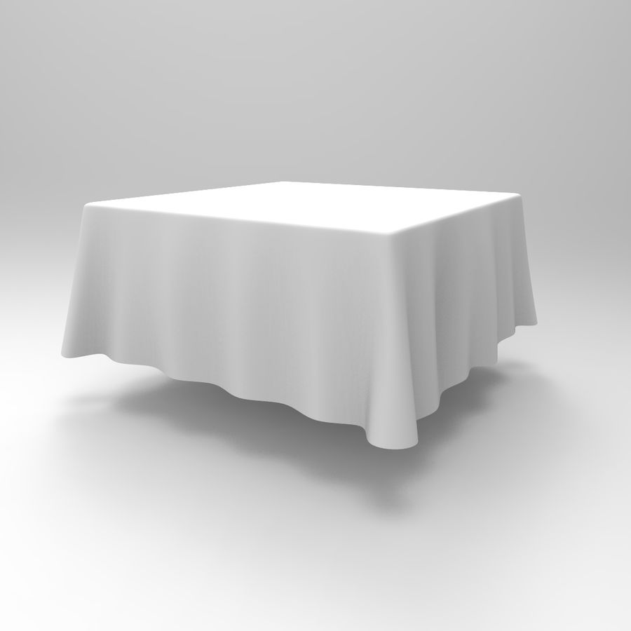 TableCloth cuadrado royalty-free modelo 3d - Preview no. 3