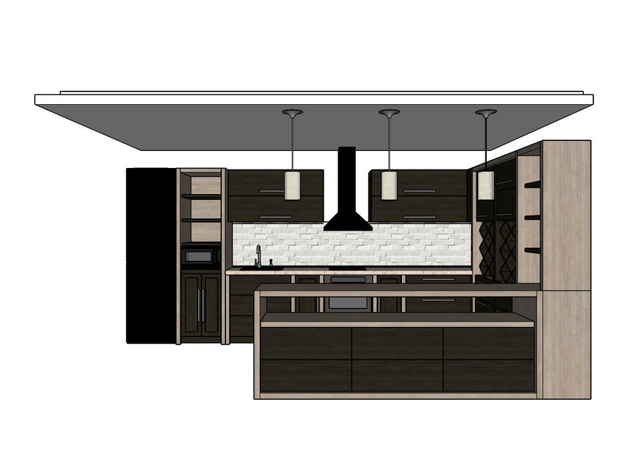 Kitchen 3 royalty-free 3d model - Preview no. 7