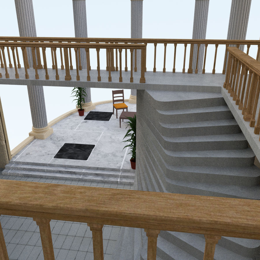 Villa_House_Interior ed Exterior royalty-free 3d model - Preview no. 7