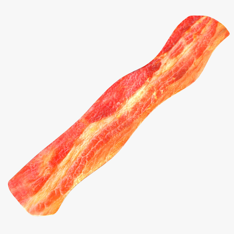 fried bacon (one) royalty-free 3d model - Preview no. 1