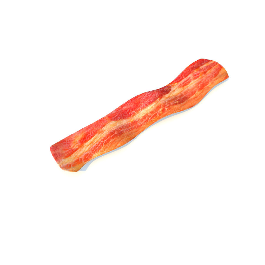fried bacon (one) royalty-free 3d model - Preview no. 2
