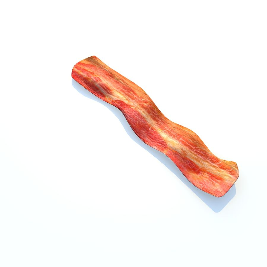 fried bacon (one) royalty-free 3d model - Preview no. 5