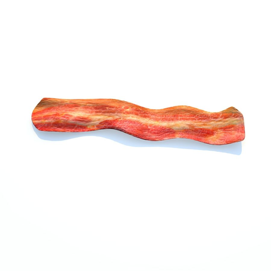 fried bacon (one) royalty-free 3d model - Preview no. 3